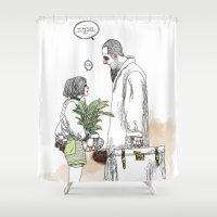 kim sy ok Shower Curtains featuring OK?! by doFirlefanz
