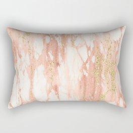 Rose Gold Marble - Rose Gold Yellow Gold Shimmery Metallic Marble Rectangular Pillow