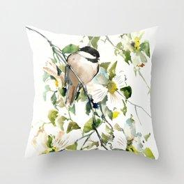 chickadee and dogwood, chickadee art design floral Throw Pillow