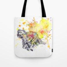 Cheetah running in the air Tote Bag