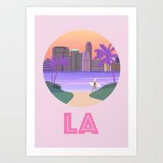 LA, Los Angeles, city art illustration Art Print