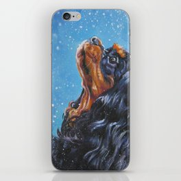 Beautiful black and tan Cavalier King Charles Spaniel Fine Art Dog Painting by L.A.Shepard iPhone Skin
