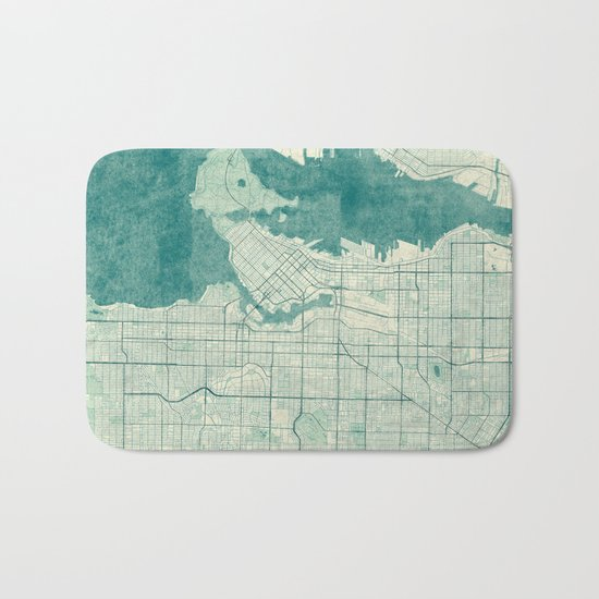 Vancouver Map Blue Vintage Bath Mat