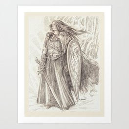 Shield Maiden of Avalon Art Print