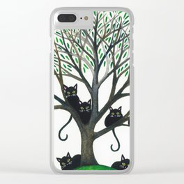 Borders Stray Cats in Tree Clear iPhone Case