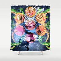 dbz Shower Curtains featuring DBZ - Goku by Mr. Stonebanks