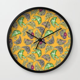 """""""Oro?"""" Cactus with Flower Mustard Wall Clock"""