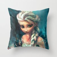 alicexz Throw Pillows featuring The Storm Inside by Alice X. Zhang