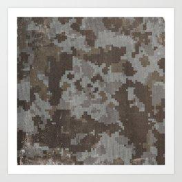 Desert Camouflage Retro Grunge Pattern Art Print
