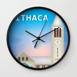 Ithaca, New York - Skyline Illustration by Loose Petals Wall Clock