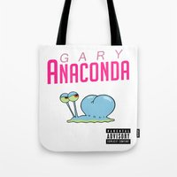 anaconda Tote Bags featuring Gary Anaconda (Parody) by TxzDesign
