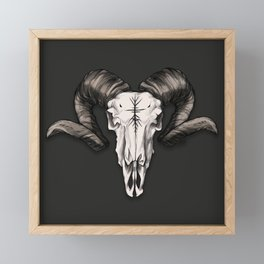 Ram Skull with Runes Framed Mini Art Print