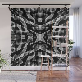 Exclusive mosaic pattern of chaotic black and white fragments of glass, metal and ice floes. Wall Mural