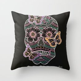 Butterfly Sugar Skull Throw Pillow