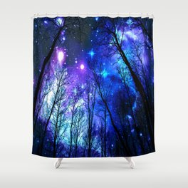 black trees purple blue space copyright protected Shower Curtain