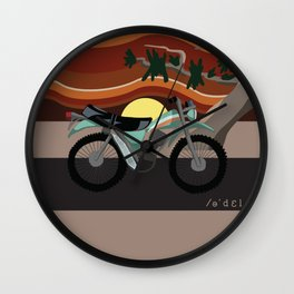 Vintage Moto on the Open Road Wall Clock