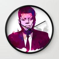 jfk Wall Clocks featuring JFK by BIG Colours