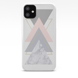 Blush Marble Gray Gold Geometric Pattern iPhone Case