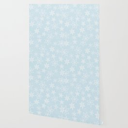 Snowflakes on light blue background Wallpaper