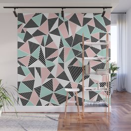 AbLines with Blush Mint Blocks Wall Mural