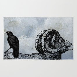 True North Big Horn Sheep And Crow Rug