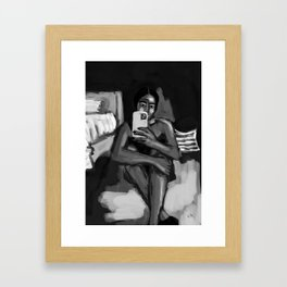 in my room black and white Framed Art Print