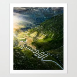 Winding roads in Switzerland Art Print