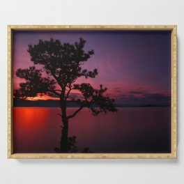 Purple and Red Montana Sunset over Flathead Lake Serving Tray