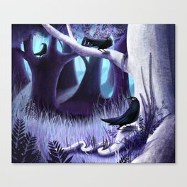 The Ostragon Woodlands Where Bright Ravens Watch Canvas Print