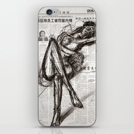 Brave - Charcoal on Newspaper Figure Drawing iPhone Skin