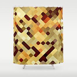 Cool Autumn Season Colors Round Squares Pattern Shower Curtain