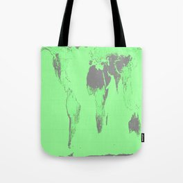 World Map : Gall Peters Seafoam Green Tote Bag