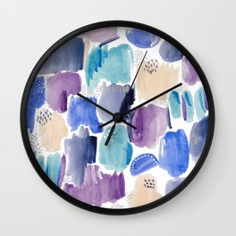 Marking making abstract pattern - deep blue purple peach and teal Wall Clock
