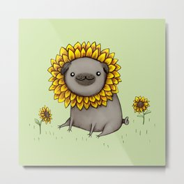 Pugflower Metal Print