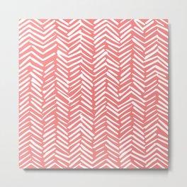 Geometric Art, Herringbone, Coral, Wall Art Boho Metal Print