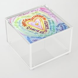 Rainbow Heart Colorful What Cancer Cannot Do Poem Acrylic Box