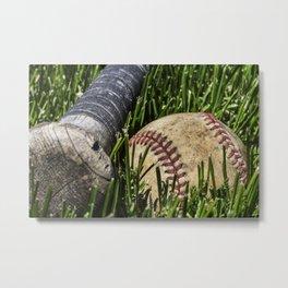 Baseball and Bat on Grass 2 Metal Print