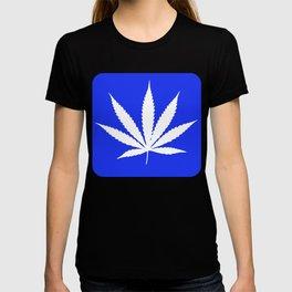 Marijuana Leaf Blue Background T-shirt