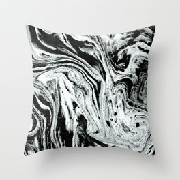 marble black and white minimal suminagashi japanese spilled ink abstract art Throw Pillow