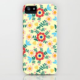 Folk Floral (yellow) iPhone Case