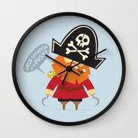 jack sparrow Wall Clocks featuring Jack Sparrow is a PUSSY by Illuzak