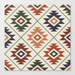 Aztec Symbol Pattern Col Mix Canvas Print
