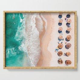 Aerial Beach Print, Emerald Turquoise Ocean Beach Photography, Aerial Photography, Ocean Waves, Beach Art Poster, Home Decor Art Print Serving Tray