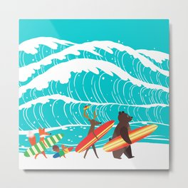 Summer Holiday Surfing Metal Print