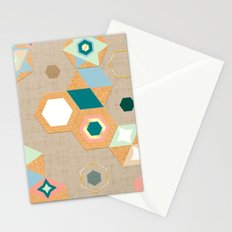 Cork Hexagons (Beige) Stationery Cards