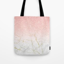 Rose Gold Glitter and gold white Marble Tote Bag