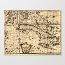 Vintage Map of Cuba (1762) Canvas Print