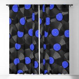 Vinyl Records Pattern (Blue) Blackout Curtain