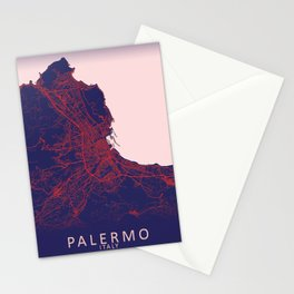 Palermo, Italy, Blue, White, City, Map Stationery Cards