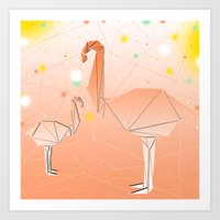 flamingo Art Prints featuring FLAMINGO by ARCHIGRAF